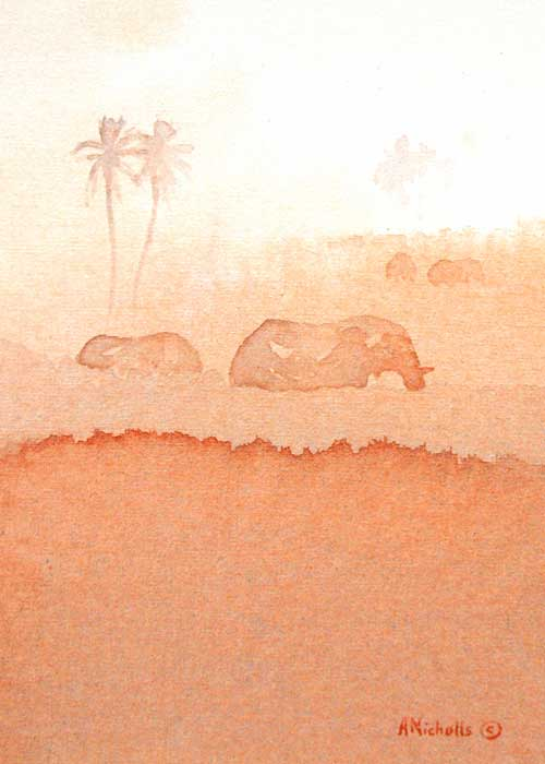 """Elephant Delta, acrylic on canvas 7x5"""" by Alison Nicholls"""