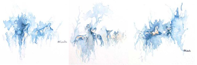 Painted Dogs in watercolor by Alison Nicholls
