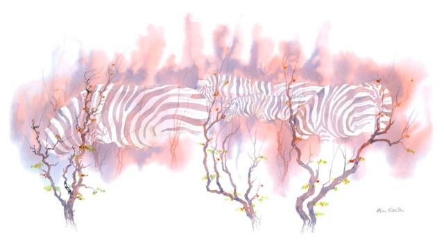 Zebras In Mopane, acrylic by Alison Nicholls