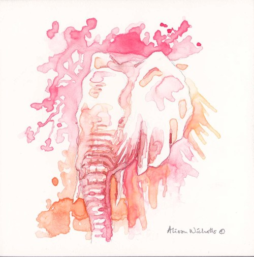 "Elephant in Pink watercolor 5x5""by Alison Nicholls ©2016"