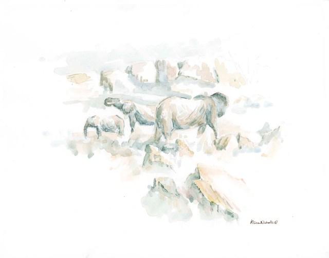 Elephants at Noon watercolor by Alison Nicholls