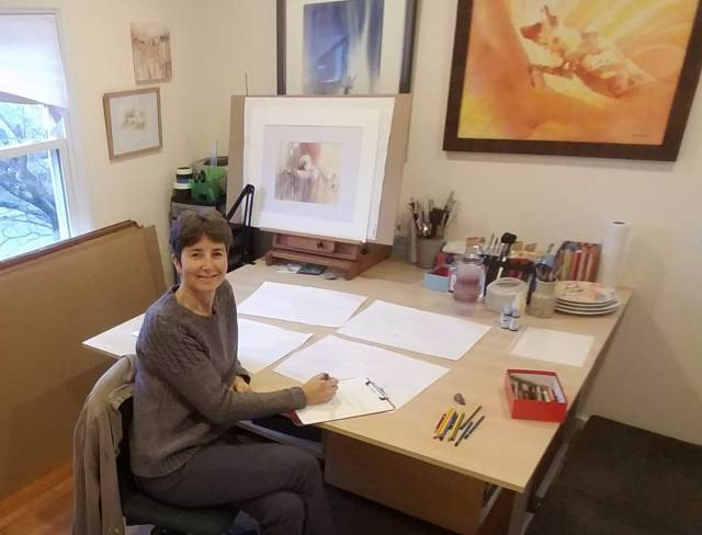 Artist Alison Nicholls in a new year planning session.