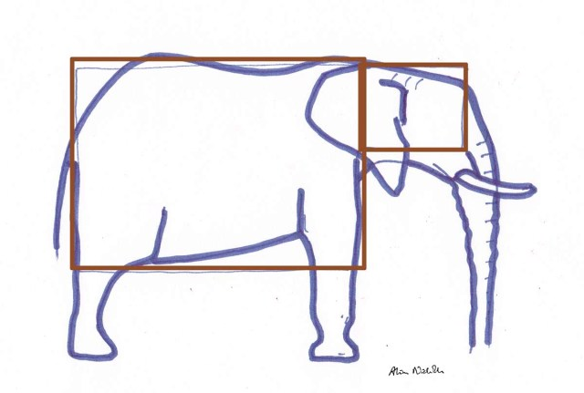 How I start an elephant sketch by Alison Nicholls