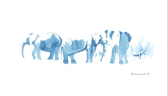 Elephants at Water IV