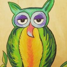 'wise old owl' pastel on wood $35