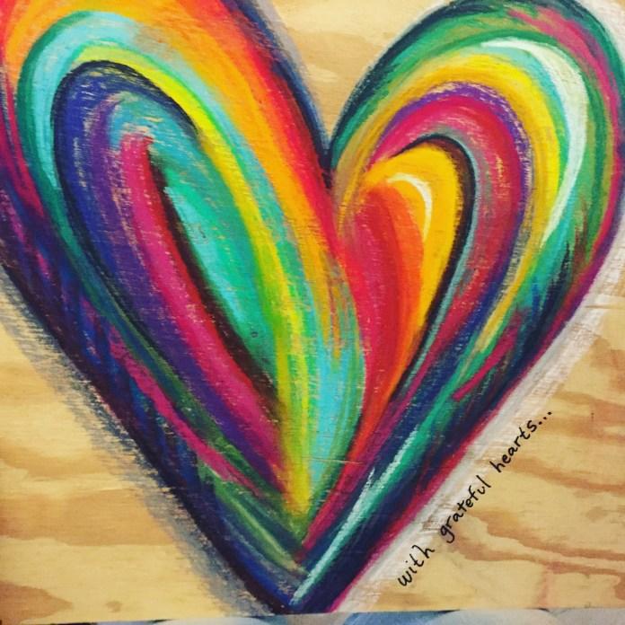 'grateful heart' pastel on wood $35