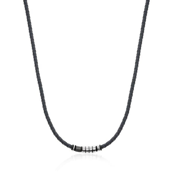 COLLIER CUIR S.STEEL BLACK-IP