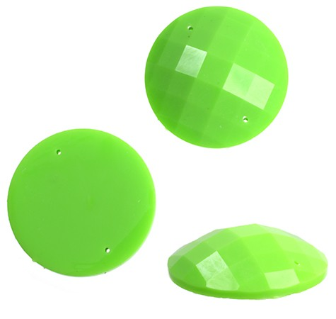 RESIN SEW-ON ROUND LIME GREEN