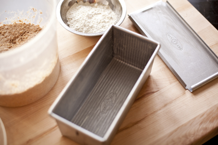 Bread pan and dough ingredients | Artisan Bread in Five Minutes a Day