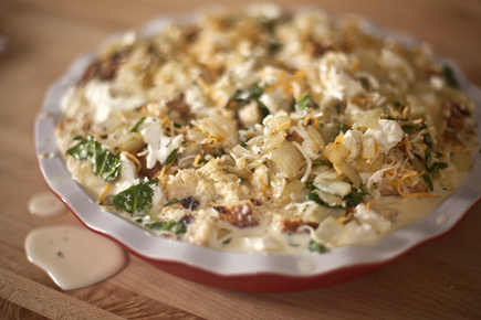 Savory Bread Pudding in a Pie Plate Before Baking | Artisan Bread in Five Minutes a Day
