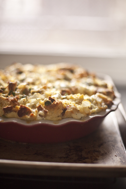 Savory Bread Pudding - A great way to use up leftover bread! | Artisan Bread in Five Minutes a Day