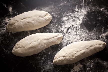 Three pieces of dough shaped into loaves | Artisan Bread in Five Minutes a Day