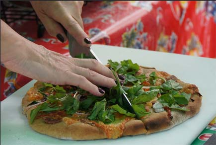 Pizza with arugula