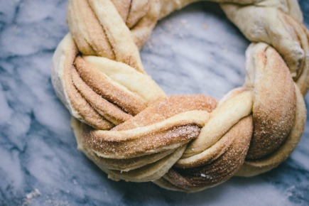 Cinnamon Brioche Wreath Before Baking | Artisan Bread in 5 Minutes a Day