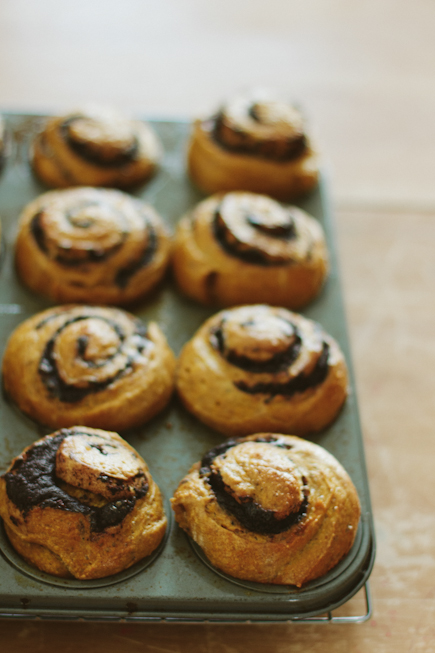 Pumpkin Swirl Buns with Chocolate Ganache | Bread in 5