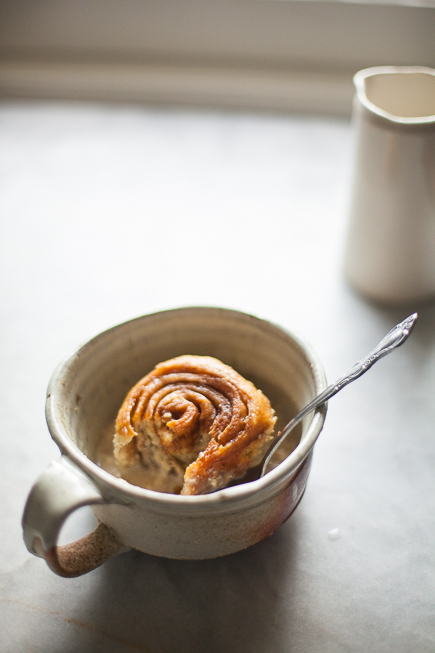 Caramel Cinnamon Bun Bread Pudding in a Mug | Artisan Bread in Five Minutes a Day