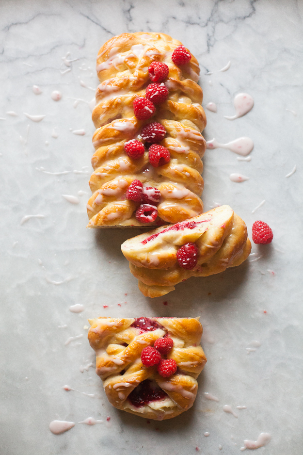 Raspberry Cream Cheese Brioche Braid with Powdered Sugar Drizzle