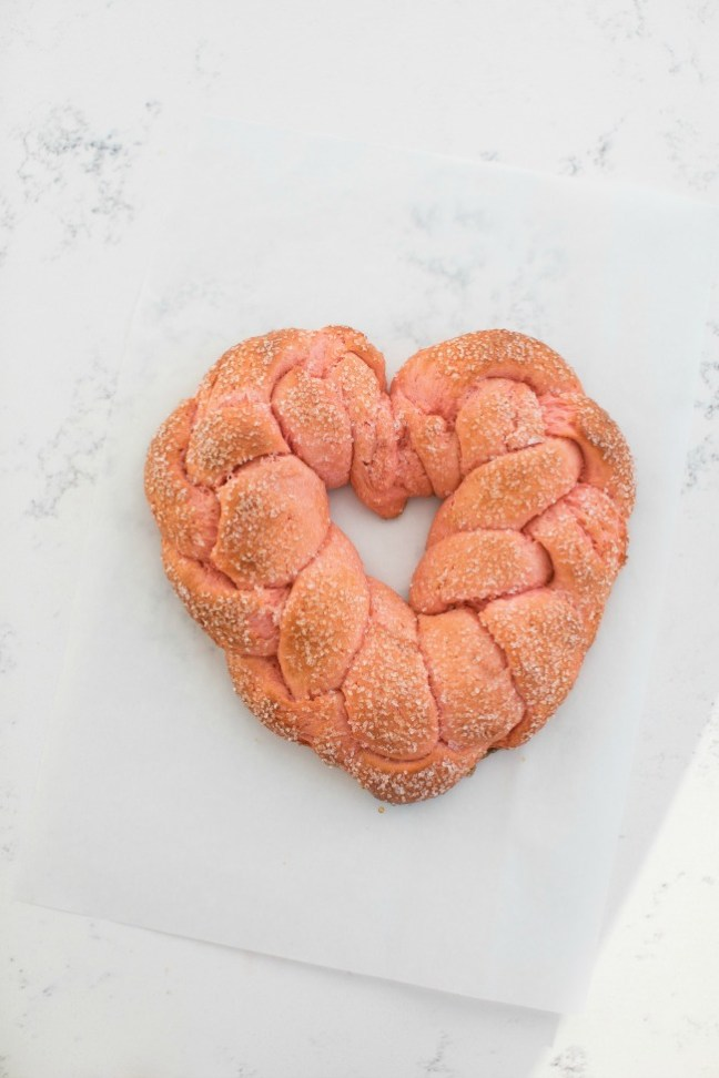Pink Heart Braid Bread for Valentine's Day | Artisan Bread in Five Minutes a Day