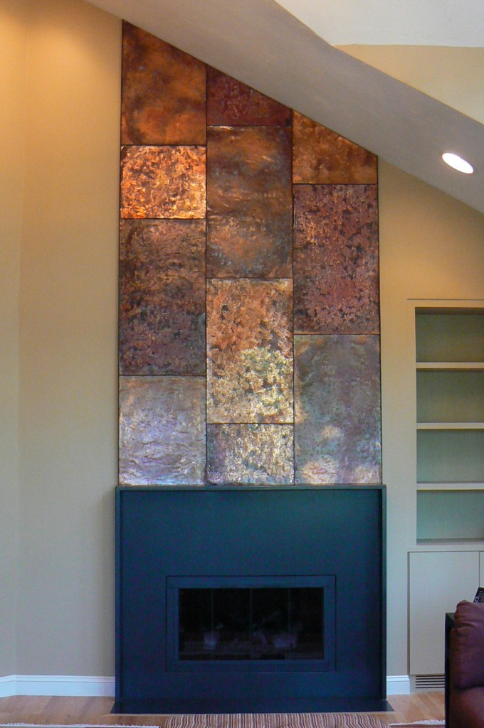 Artisan Iron  Copper Wall Fireplace Mantle