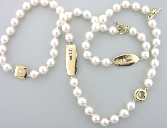 pearl strand with gold accent beads