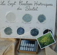 Boîte de 7 pastels gras au bleu de pastel véritable, les 7 couleurs historiques du pastel.