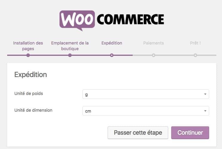créer un site pour vendre ses créations en ligne : woocommerce expédition