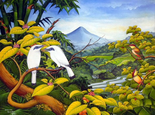 Hand Painting Balinese Bali Starling Jalak Paddy Field Attention Detail