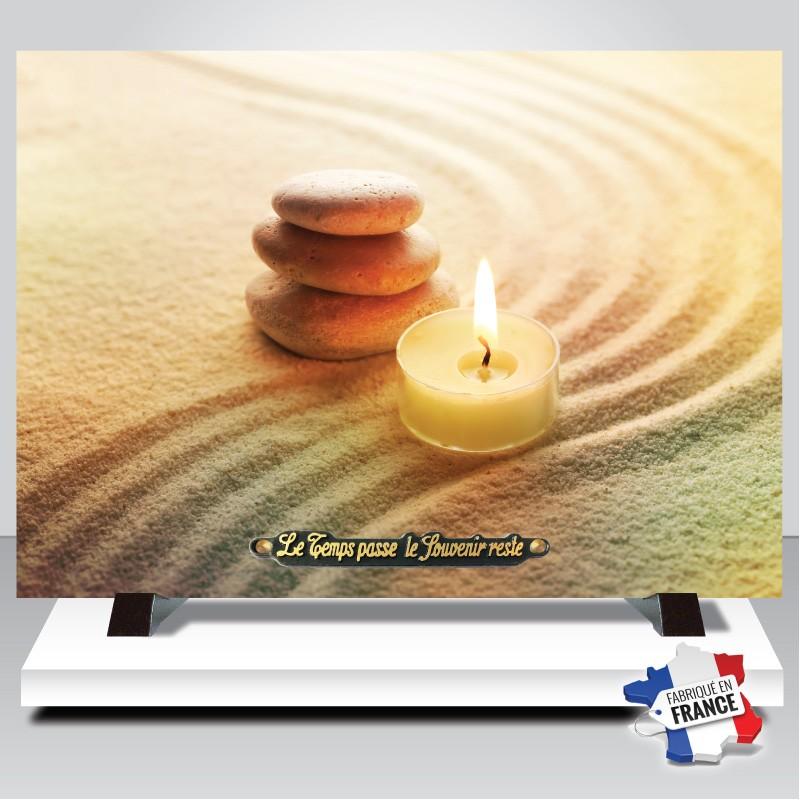 plaque funeraire galets et bougies