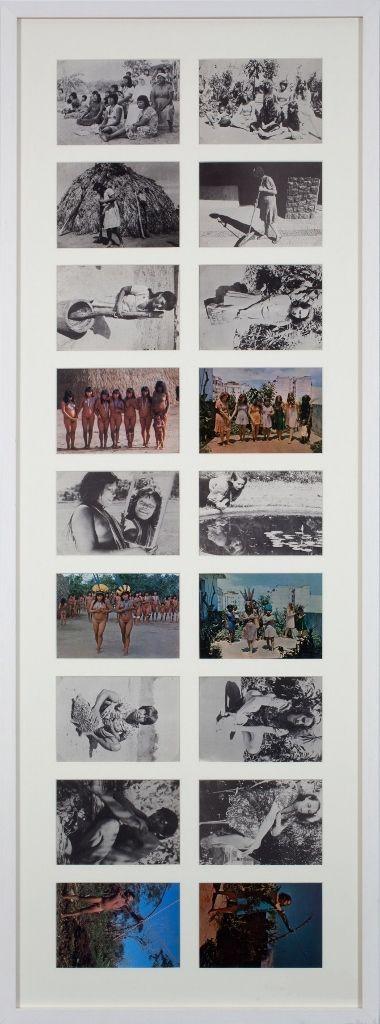 Anna Bella Geiger, Brasil nativo, Brasil alienígena, 1976-1977, Postales, 116,8 x 43,5 cm, 18 postales de 10 x 15 cm c/u. Cortesía: HFFA