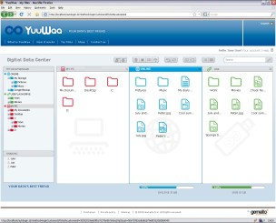 A screenshot of the YuuWaa online file management