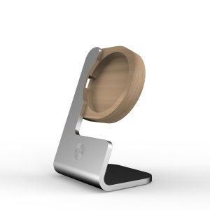 The light aluminium version with light oak wood