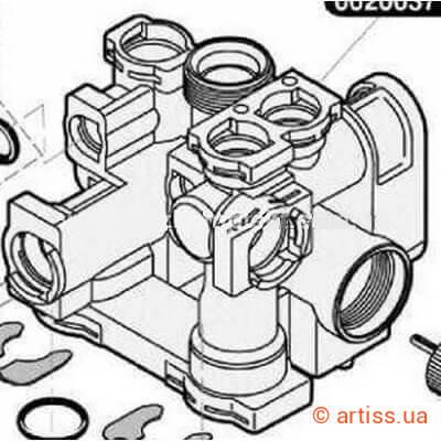 0020037113 Корпус трехходового клапана SAUNIER DUVAL SEMIA