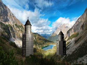 fantasy castle medieval 3d towers twin max 3ds landscape architecture tower software objects stone studio ancient royal