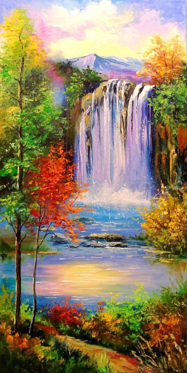 Mountain Waterfal Paintings Olha Darchuk