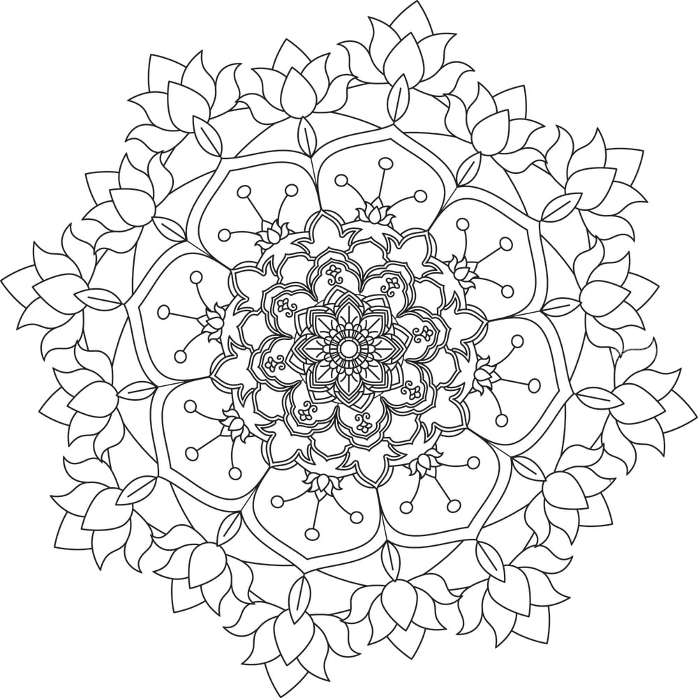 Flower Mandala. Vintage decorative elements. Oriental