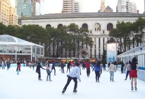 Ice skating in Bryant Park