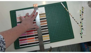 Cutting Completed Swatches