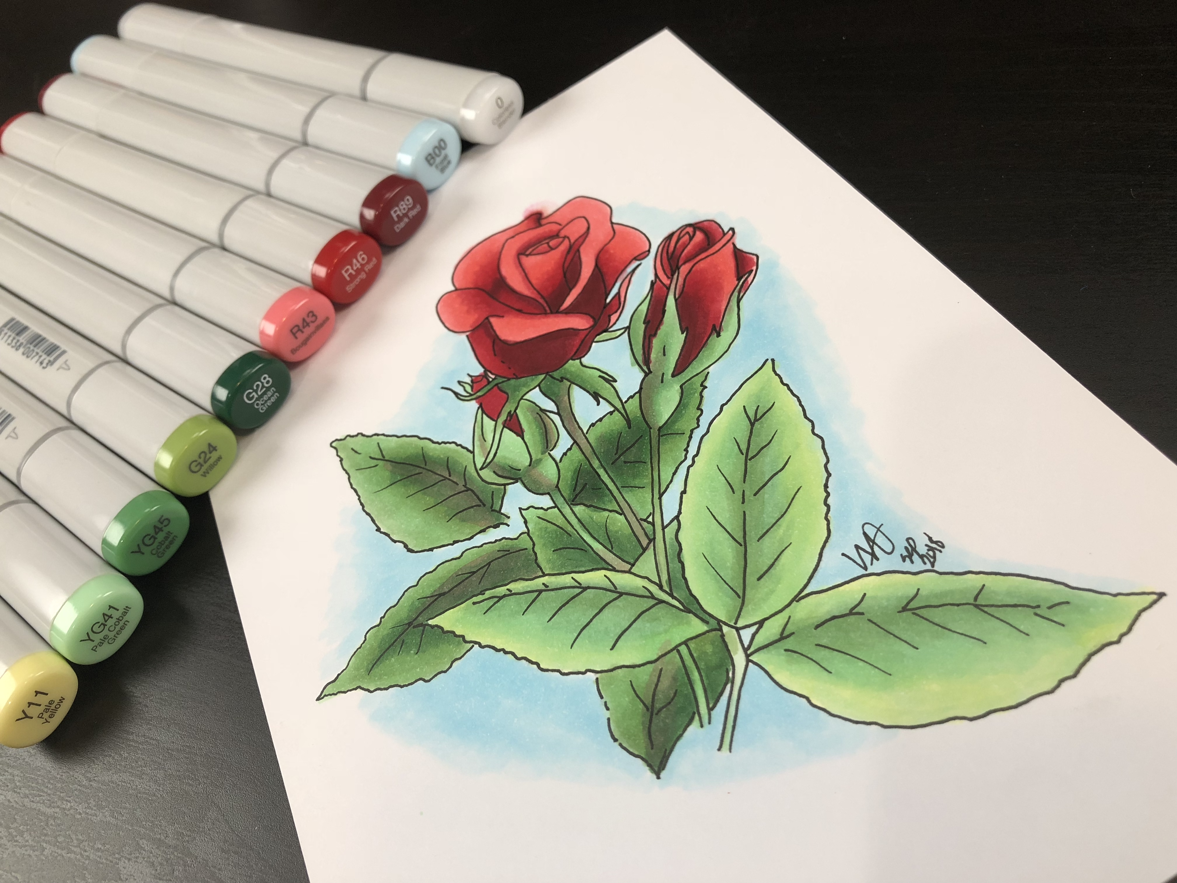 Rose Study in Marker