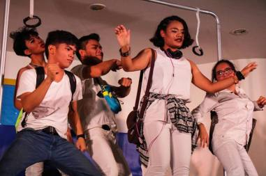 Artistang Artlets actors jive to the music as they perform with the AB Chorus of Arts and Letters