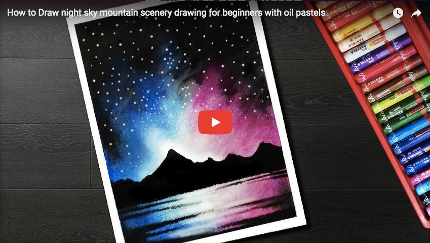 Pastel Tutorial How To Draw Night Sky Mountain Scenery