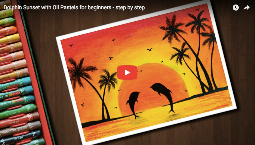 Pastel Tutorial Dolphin Sunset With Oil Pastels For
