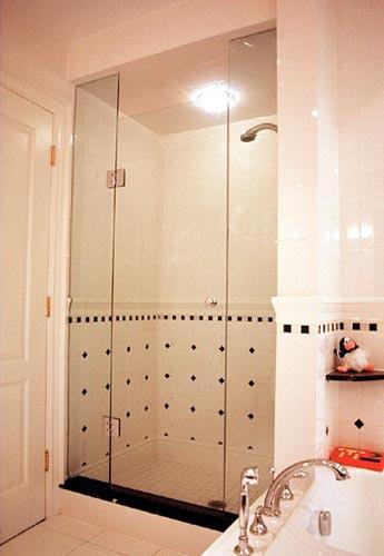 Frameless Shower Door with In Line Panel  ArtistCraftcom