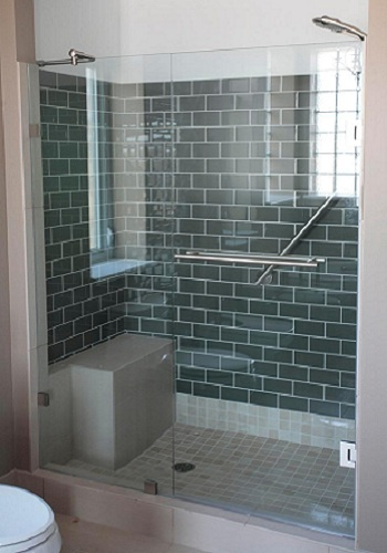 Frameless Shower Door with In Line Panel  ArtistCraftcom