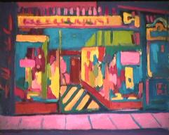 Vitrine sur rue - 1981 Acrylique sur masonite 41cm X 51cm Louis Fortier