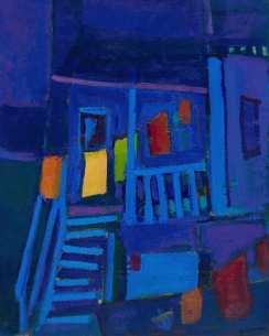Maison corde à linge bleue - 1977-1979 Acrylique sur toile 41cm X 51cm Louis Fortier PRIX : 575$ (Inclus encadrement)