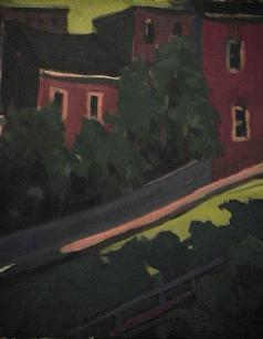 Côte arbres maison rouge - 1977-1979 Acrylique sur toile 41cm X 51cm Louis Fortier