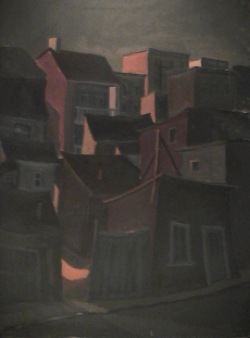 Regroupement maisons - 1977-1979 Acrylique sur masonite 91cm X 122cm Louis Fortier