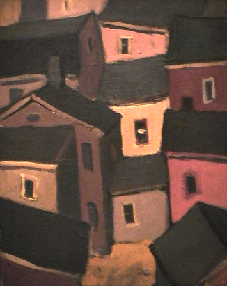 Maison orange - 1977-1979 Acrylique sur toile 41cm X 51cm Louis Fortier