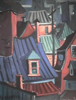 Toit bleu | vert - 1977-1979 Acrylique sur toile 40cm X 61cm Louis Fortier PRIX : 565$