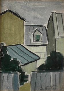 Village - 1977-1979 Acrylique sur carton 23cm X 28cm Louis Fortier PRIX : Oeuvre non disponible (vendue)